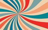 istock retro starburst sunburst background pattern and vintage color palette of orange red beige peach and blue in spiral or swirled radial striped design 1252581438