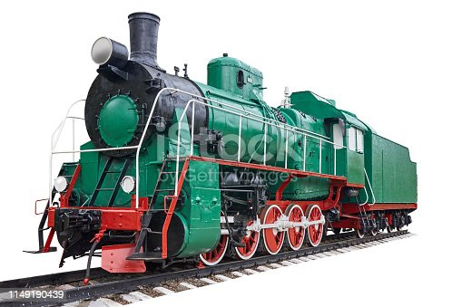 Old steam locomotive standing on rails, vintage train, general view. Isolated on white.