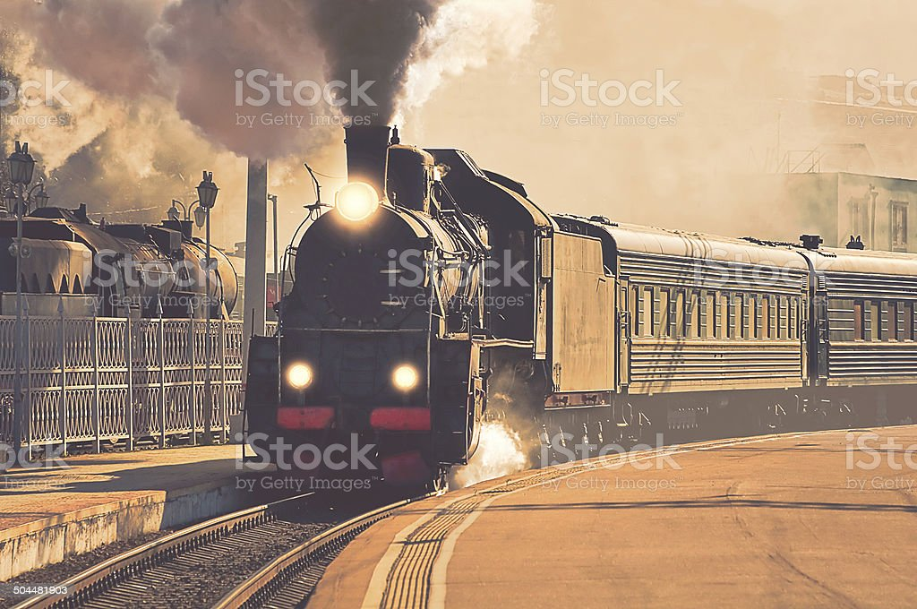 Retro steam train. stock photo