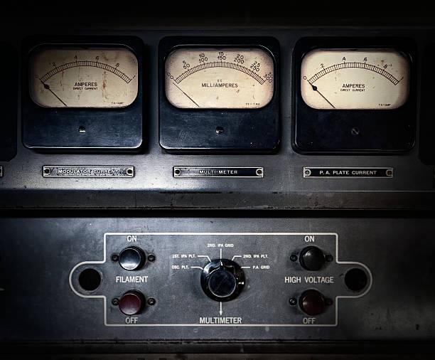 Retro steampunk electrical equipment stock photo
