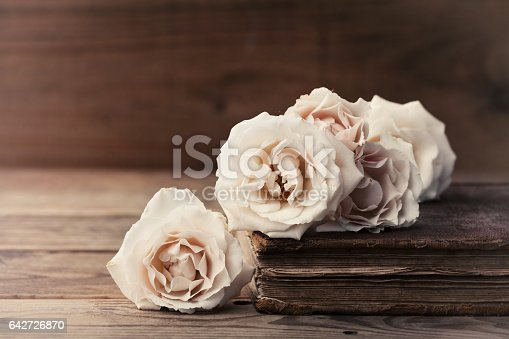 istock Retro still life with vintage rose flowers and ancient book. 642726870