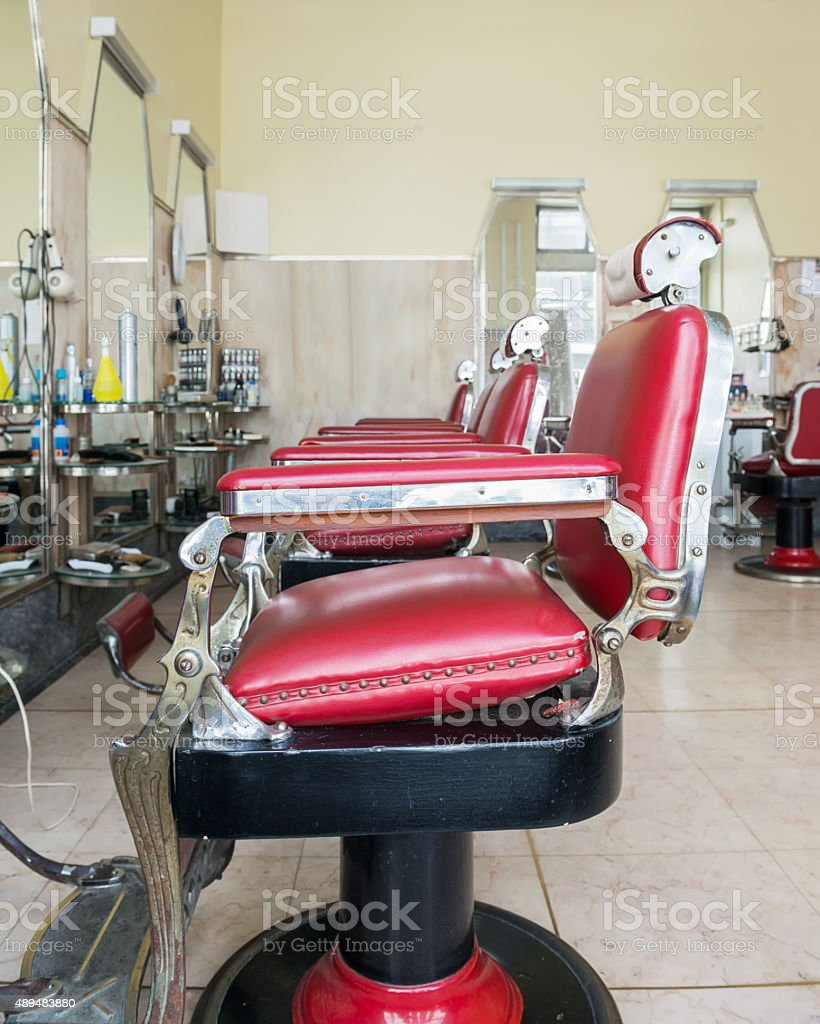 Retro style barber chairs stock photo