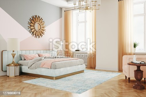 istock Retro Style Bedroom Interior 1276669019