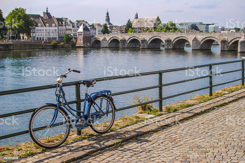 Retro style bicycle in Maastricht, Netherlands stock photo
