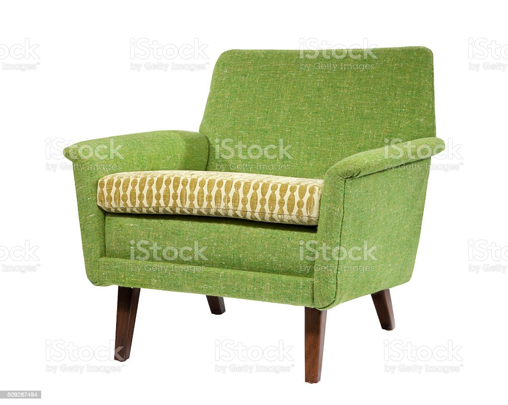 Retro style chair sixties style antique green upholstery isolated  royalty-free stock photo - Retro Style Chair Sixties Style Antique Green Upholstery Isolated