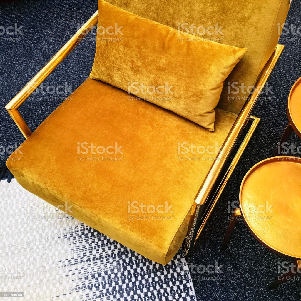 Picture of: Retro Style Dark Yellow Velvet Armchair And Golden Side Table Stock Photo Download Image Now Istock