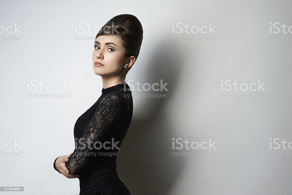 retro style girl in black clothes on white stok fotoğrafı