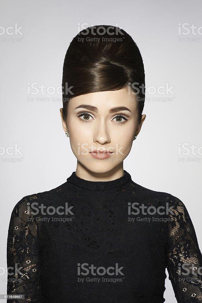retro style girl in black clothes on white stock photo