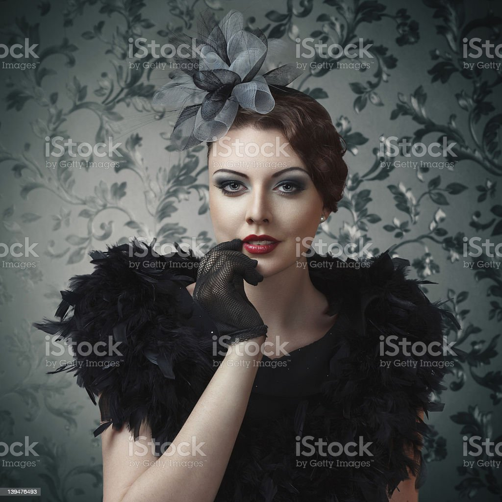 Retro style girl portrait royalty-free stock photo
