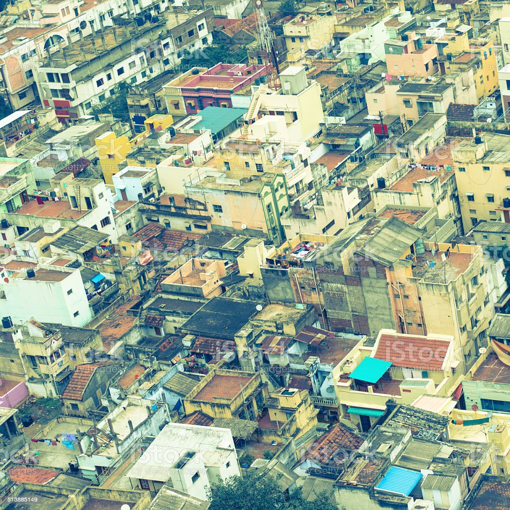 image de style rétro de maisons colorées d'affluence ville indienne - Photo