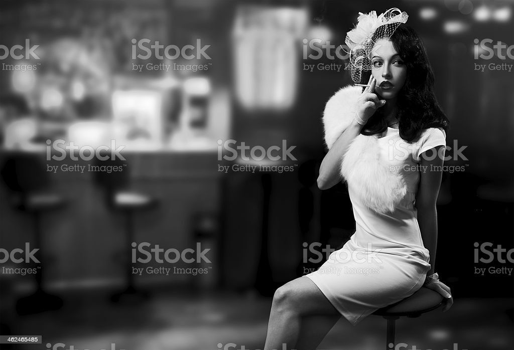 Retro Style Image. Smoking Lady In The Bar stock photo