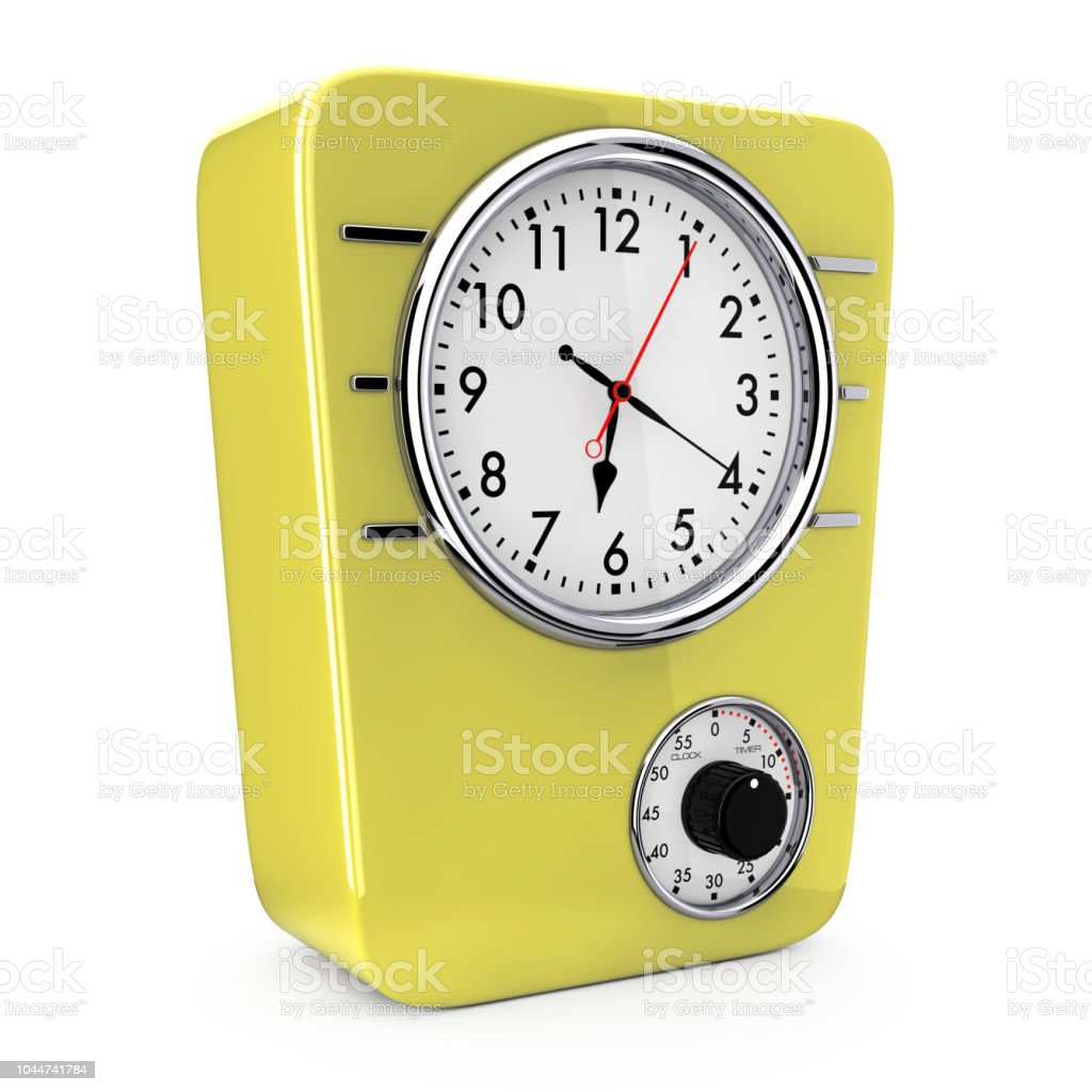 Retro Style Kitchen Clock With Timer 3d Rendering Stock Photo Download Image Now Istock