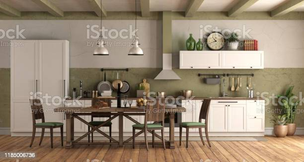 Retro style kitchen with wooden dining table picture id1185006736?b=1&k=6&m=1185006736&s=612x612&h=de4nwktl5jcoxms3grvganpzaixfqh7unx0ylswuldu=