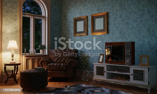 Retro style designed living room with a vintage Tv in the evening. ( 3d render )