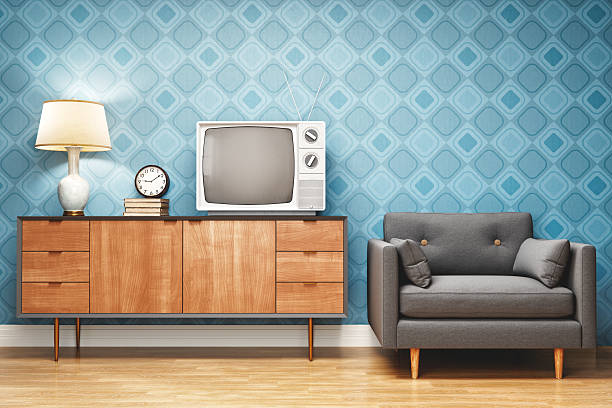 retro style living room interior design - televisor antiguo fotografías e imágenes de stock
