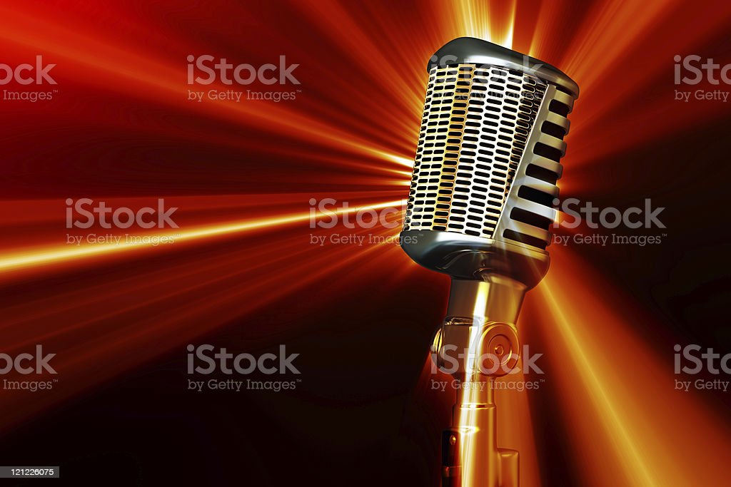 Retro style microphone. stock photo