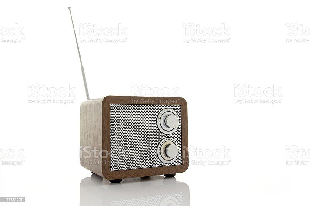 Retro style mini radio player stock photo