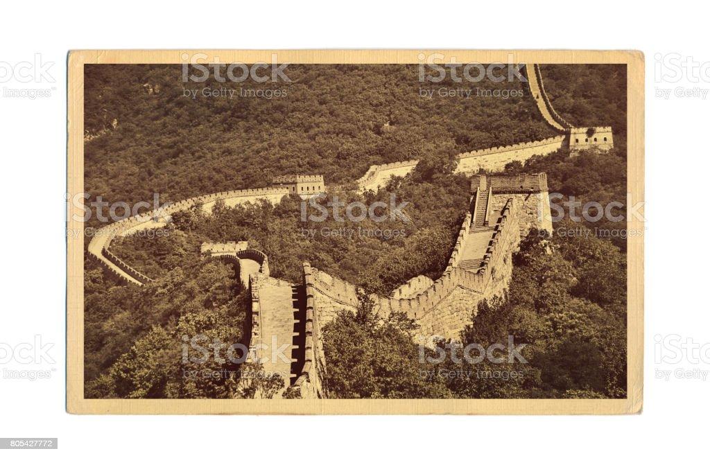 Foto postal antigua de estilo retro de la gran muralla China en Mutianyu, Pekín, China - foto de stock