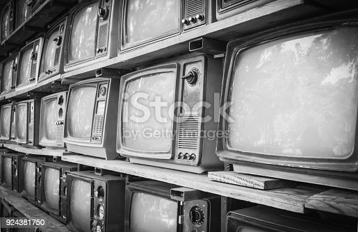 istock Retro style old television from 1950, 1960 and 1970s. Vintage tone instagram style filtered photo 924381750