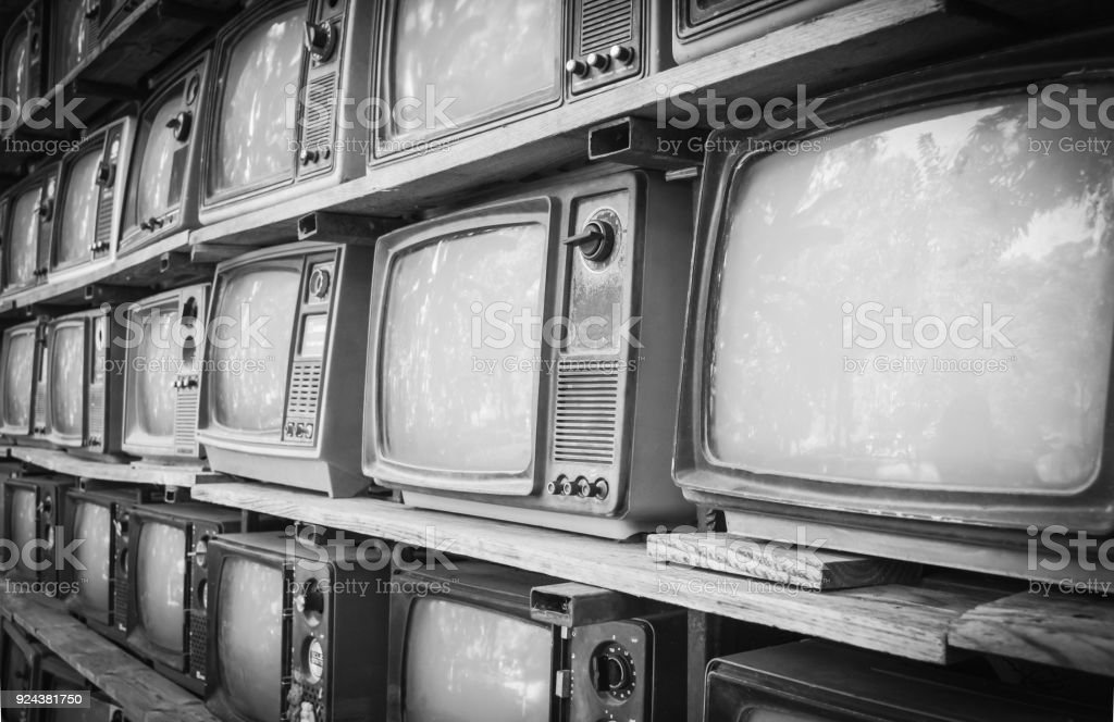 Retro style old television from 1950, 1960 and 1970s. Vintage tone instagram style filtered photo stock photo