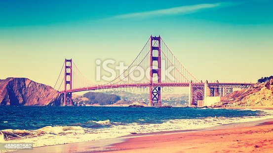 Retro style photo of Golden Gate Bridge, San Francisco, California, USA.