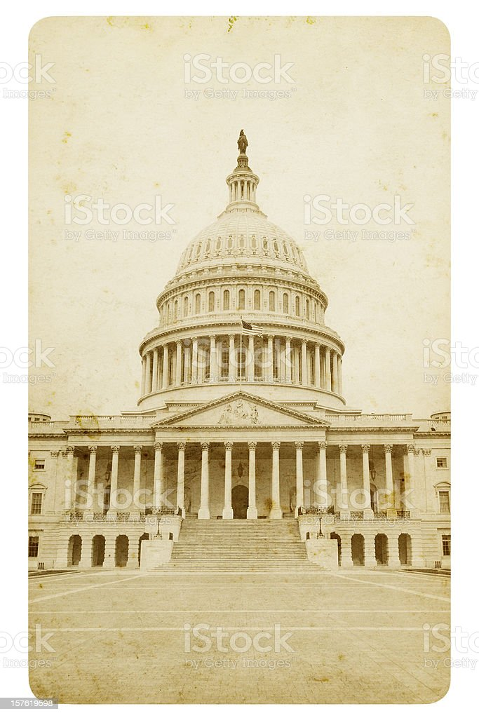 Retro style postcard of Capitol Hill royalty-free stock photo