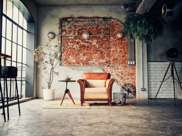 rétro style partagé bureau workspace intérieur - architecture intérieure beton photos et images de collection