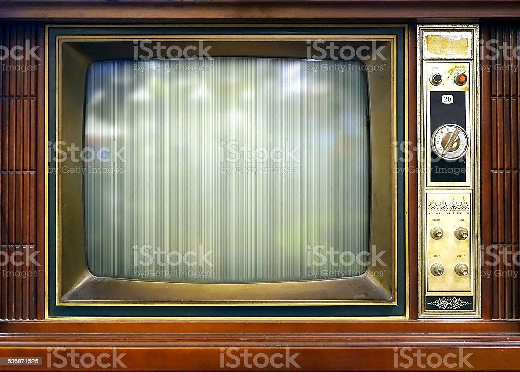 Retro Style Television Set with Bad Picture stock photo