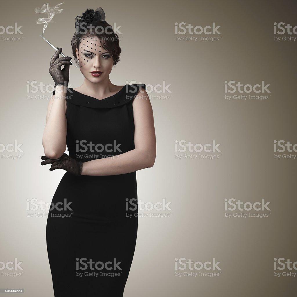 Retro style woman portrait royalty-free stock photo