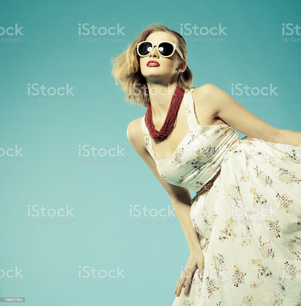 Retro style woman wearing summer dress royalty-free stock photo