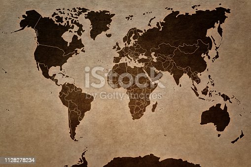 Retro style world map to used as background.