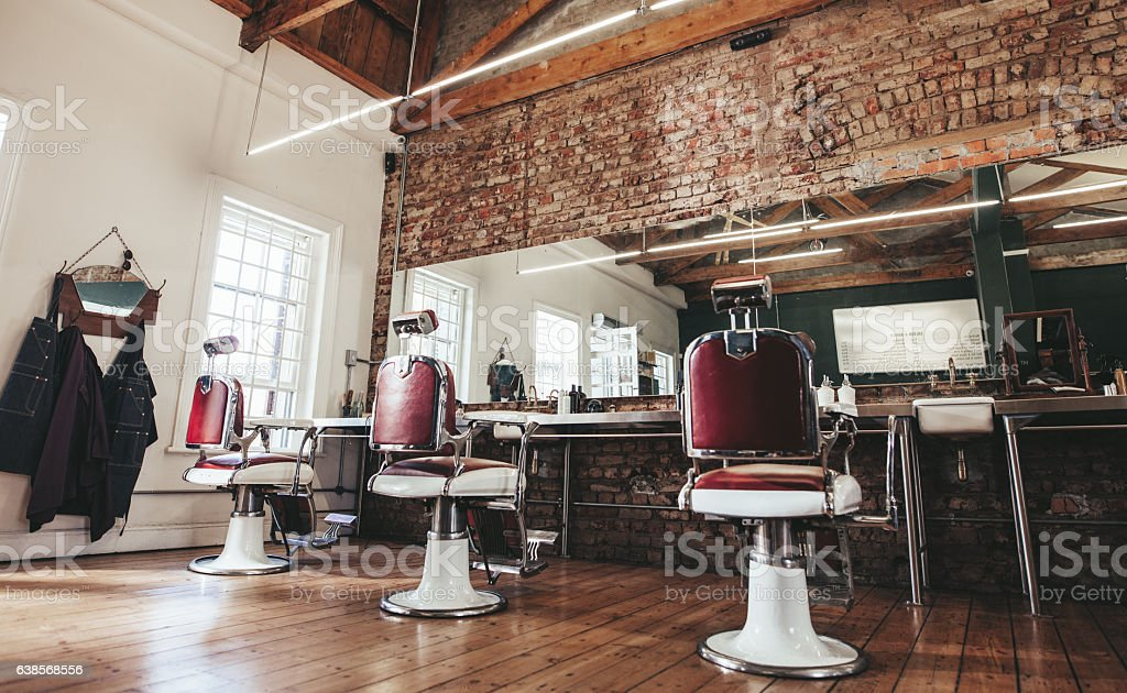 Retro styled barbershop. stock photo