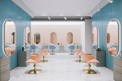 Interior of an empty, retro styled beauty salon.