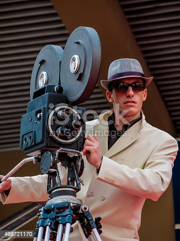 istock Retro styled Camera Man on the Red Carpet 498721170