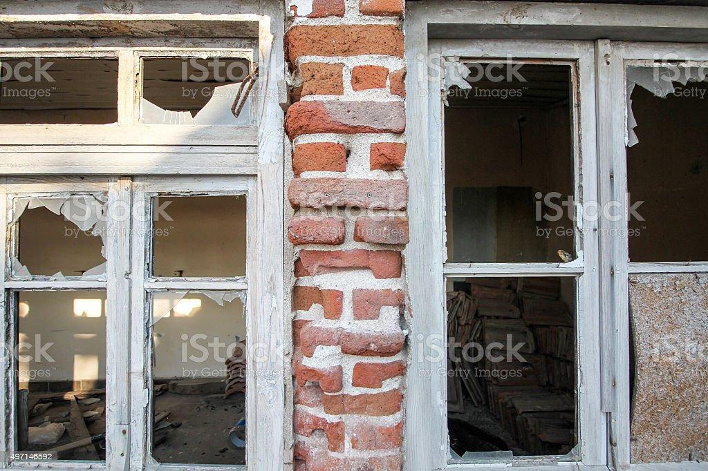 Old window and broken window door