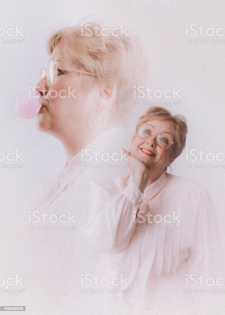 Retro Styled Glamour Shot Nineties Style stock photo