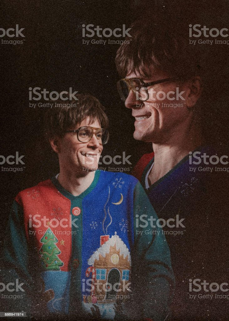 Retro Styled Glamour Shot with Christmas Sweater stock photo