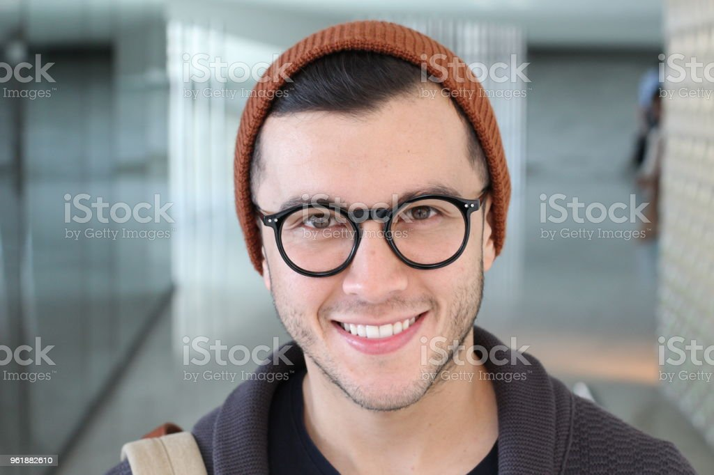 Retro styled handsome ethnic man with glasses stock photo