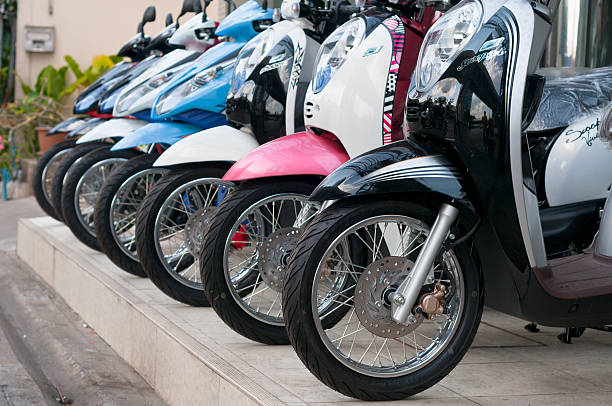 retro styled honda motorcycles for sale - motorbike, umbrella stock pictures, royalty-free photos & images