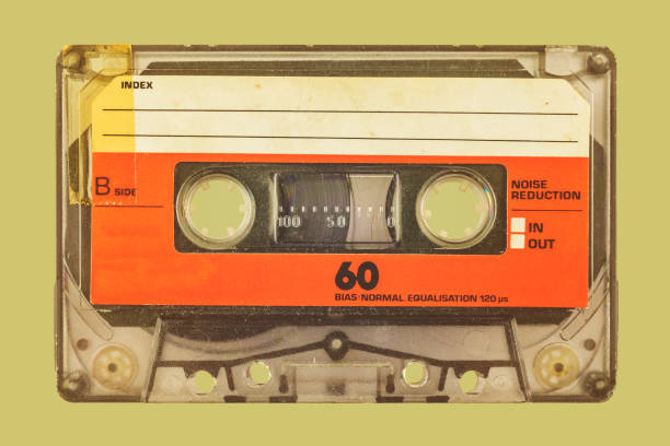 Retro styled image of a compact cassette stock photo