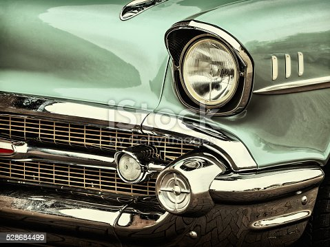 istock Retro styled image of a front of a classic car 528684499
