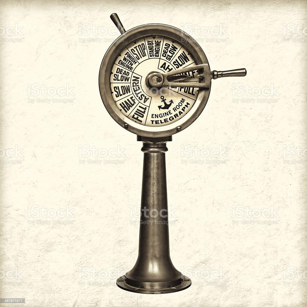 Retro styled image of a nineteenth century engine room telegraph stock photo