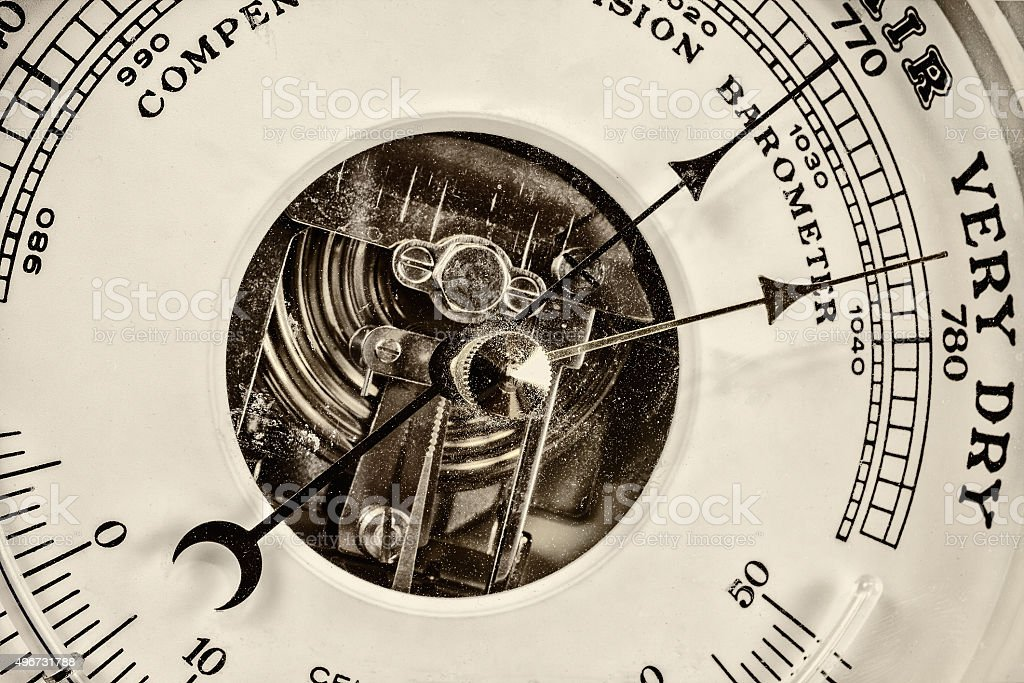 Retro styled image of an old barometer stock photo