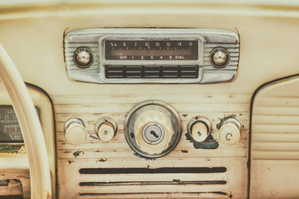 Retro styled image of an old car dashboard stock photo