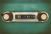 istock Retro styled image of an old car radio 1185499533