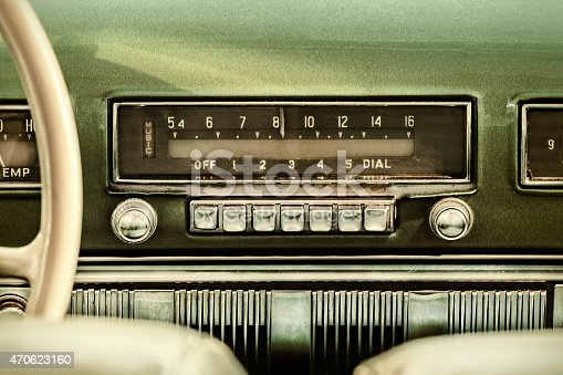 istock Retro styled image of an old car radio 470623160
