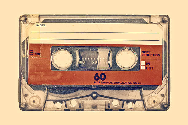 retro styled image of an old compact cassette - 1970s style stock photos and pictures