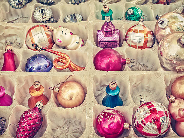 retro styled image of old christmas balls - vintage ornaments stock photos and pictures
