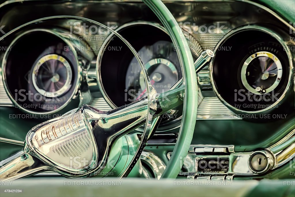 Retro styled image of the interior of a classic Pontiac stock photo