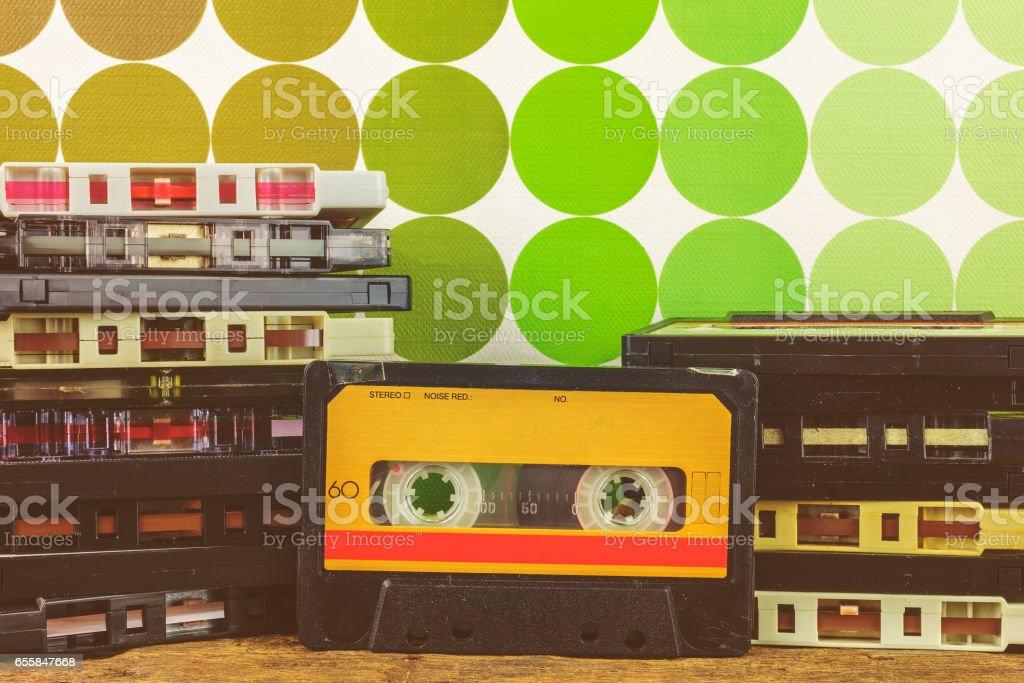 Retro styled image of vintage audio compact cassettes stock photo